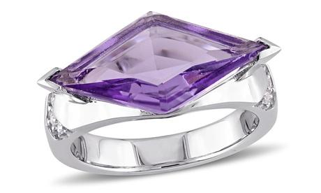 V19.69 Italia Amethyst & White Sapphire Prism Ring in Sterling Silver 1d2f8671-c621-49c5-946e-f9c4e606aae4