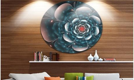 Full Bloom Blue Fractal Flower' Floral Metal Circle Wall Art 3bfb61b0-48e7-4603-b201-58ec642e30af