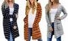 Women Striped Cardigan Open Front Long Sleeve Knit Sweaters Coats