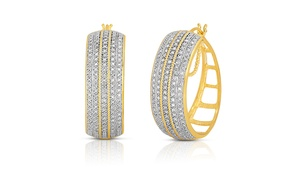 2cttw Diamond Rope Detail Hoop Earrings in Gold over Brass
