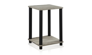 Furinno 99800GYW/BK Turn-N-Tube End Table, French Oak Grey/Black