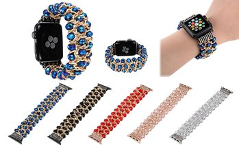 Bling Crystal Beads Strap Bracelet Band For Apple Watch 3/2/1 42mm/38mm