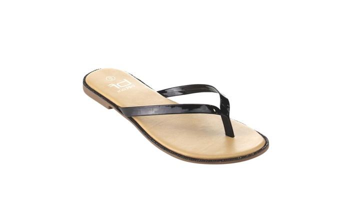 Beston FH75 Women's Slip On Rhinestone Thong Style Summer Flat Sandals