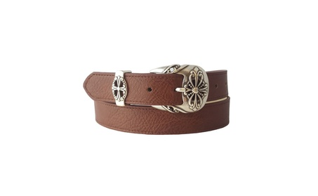 Sterling Silver Finish Western Buckle With Vegan Pebble Leatherette