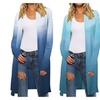 Womens Gradient Color Knit Cardigan Sweaters Coat Outwear