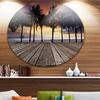 Old Wood Terrace on Sea Beach' Landscape Metal Circle Wall Art