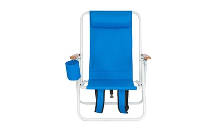 Beach Chair Folding Portable Chair Blue Solid Construction Camping