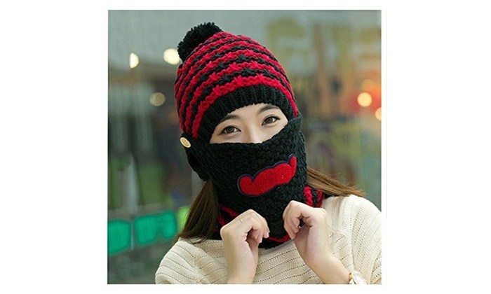 Women Korean  Knit Cap Cute Beard Cycling Wind Cap Warm Hat  - Black / womens