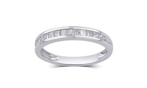 1/2 Cttw Princess Diamond Band in 10K Solid Gold by Brilliant Diamond