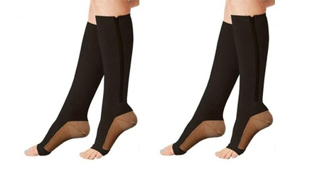 Open Toe Zipper Black Copper Infused Compression Socks with 20-25 mmHg 35382c8b-6904-482a-bfb4-452c4d8b44d5
