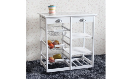 Kitchen Island Cart Rolling Cupboard Table Storage Rack