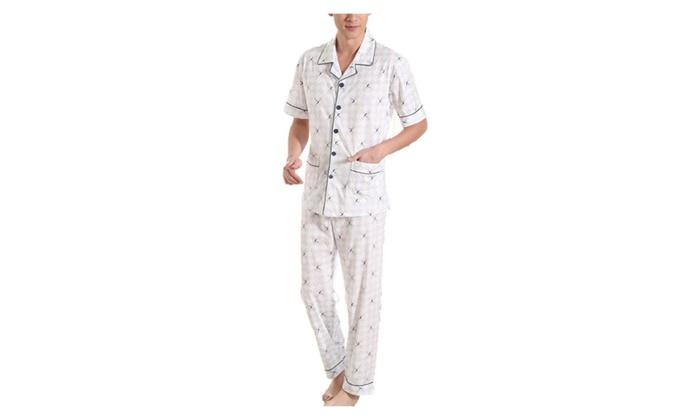 Men's Short Sleeve Buttons Up Fashion Straight Hem Pajamas Set