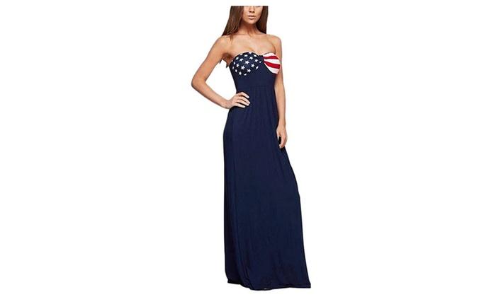 US Flag Printing Sexy Backless Dress Bra Skirt