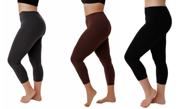 ecc022d3f02af Women s Plus Size 5 pk Capri Leggings Stretch One Size Multi Black (3)  Brown (1) Charcoal (1)