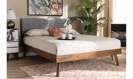Devan Fabric Upholstered Walnut Brown Finished Wood Platform Bed