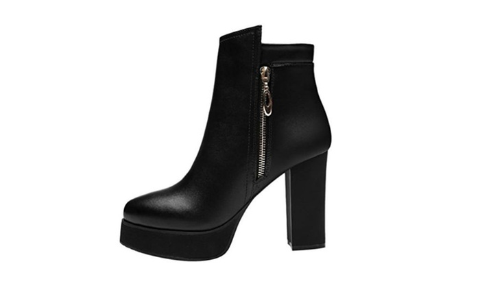 Passionow Warm Fur Lined Side Zip Platform Chunky Heel Ankle Booties