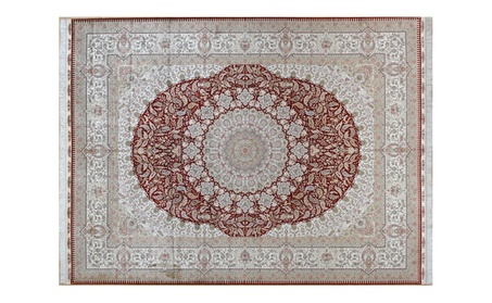 Red Traditional Persian Hand Knotted Silk Carpet - Silk / 9ftx12ft (274cmx366cm) / Traditional 9415a765-bc05-497f-b119-44dc6160b00e