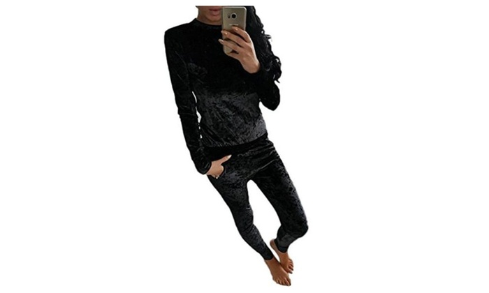 I'MQueen Women's New Arrival Velvet 2 Pcs Long Sleeves Casual Top and Pants Set