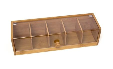 Lipper International 8187 Bamboo Wood and Acrylic Tea Box 40ef835e-8b17-42f2-92ae-c054a983c6d3