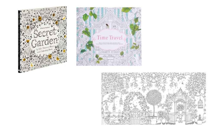 2 Pack Secret Garden And Time Travel Adult Coloring Book