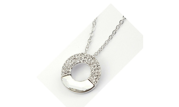 ... Genuine Crystal Circle Pendant Necklace in White Gold c6b020232