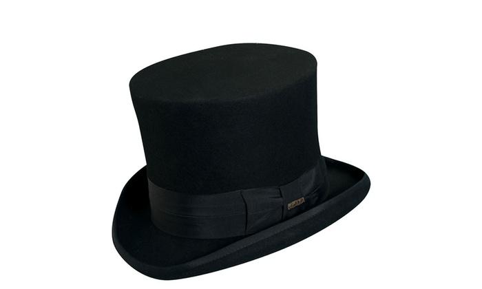 1e44c0d6f Scala Classico Wf567 Black Wool Felt Top Hat - Men