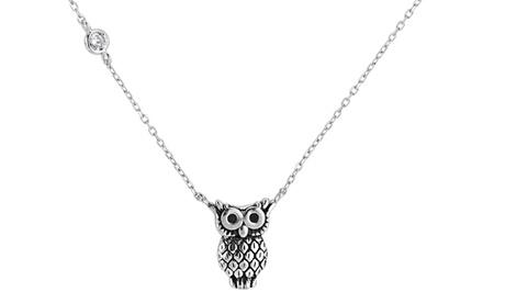 Sterling Silver Cubic Zirconia Oxidized Owl Necklace 3b2528df-4f9b-435c-aa0f-c62e9f4b7e1a