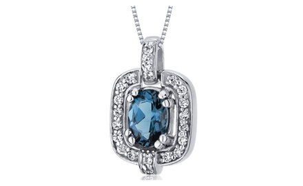 London Blue Topaz Pendant Necklace Sterling Silver 0.75 Carats SP10030