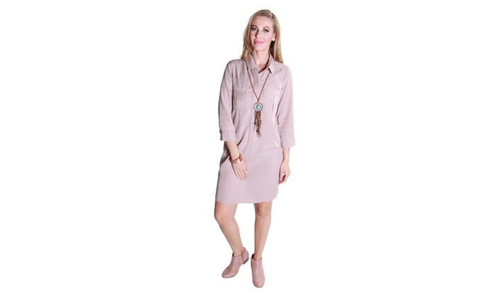 Xehar Women's Casual Collar Button Front Dress