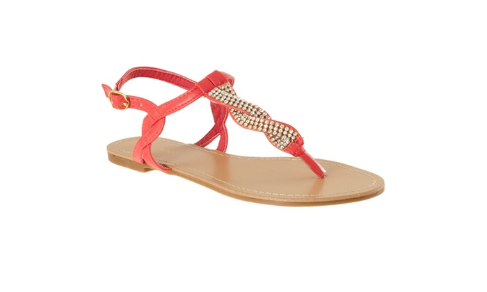 Riverberry Women's 'Armin' Rhinestone-detailed T-strap Sandals, Coral