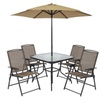 6pc Outdoor Folding Patio Dining Set W/ Table, 4 Chairs, Umbrella