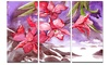 Red Orchid with Sea Floral Metal Wall Art 36x28 3 Panels