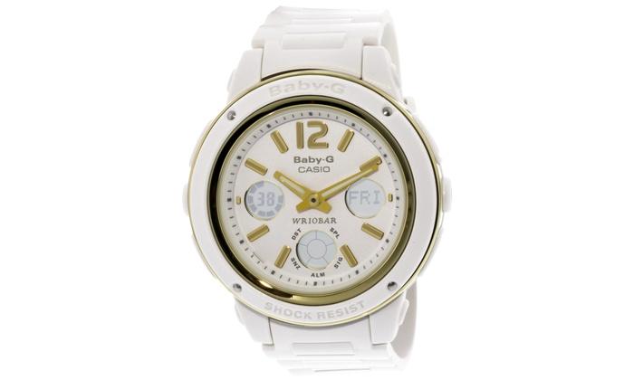 350277933 Casio Women's Baby-G BGA151-7B White Resin Quartz Sport Watch | Groupon