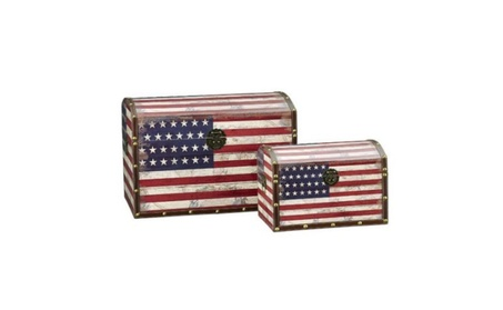 Household Essential 9273-1 American Flag Design Trunk-Nested-Dome Lid 32e026de-ccb8-4042-af2c-f2db1d670c32