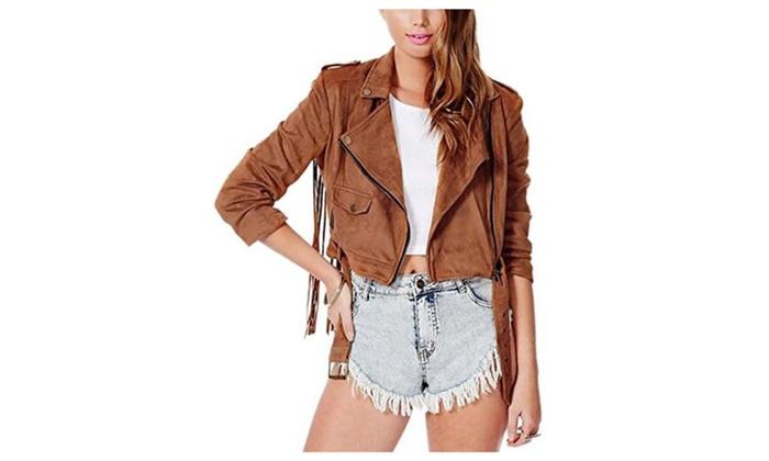 Women's ladies Fashion Short Faux PU Leather Slim Jacket Coat