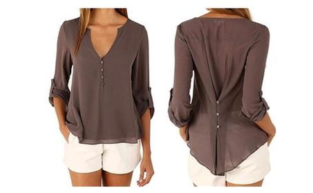 Women Chiffon V-Neck Button Back Long Sleeve Blouse Top Shirts 7440c5b7-c51f-4704-9bcb-a9d78939d1af