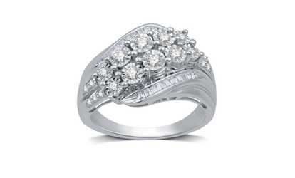 Groupon 1 2 Cttw Diamond Cer Byp Ring In 10k White Gold By Decarat