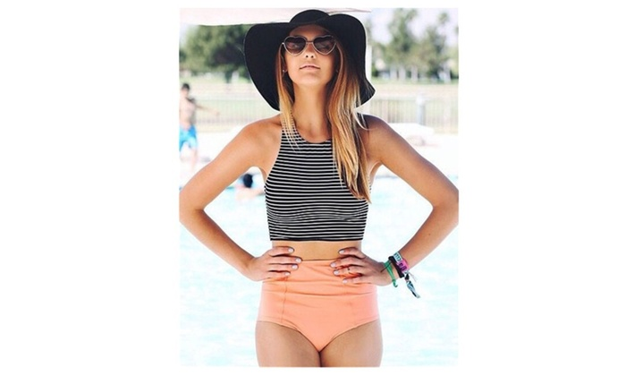 Women's Black White Stripe High Waist 2 Piece Bathing Suits