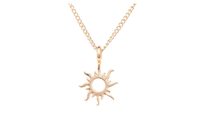 0fa4a587763065 Gold Color Good Vibes Only Sun Pendant Necklaces For Women | Groupon