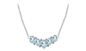 Sterling Silver 3ct TGW Blue & White Topaz 5-Stone Necklace