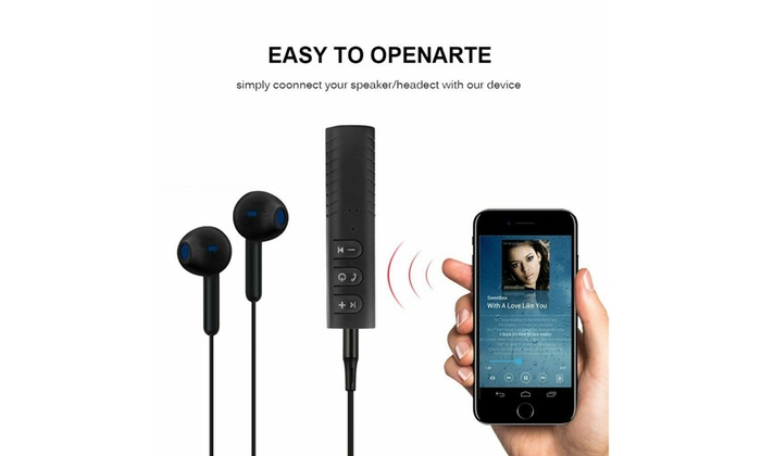 Bluetooth V4.2 Receiver Wireless Audio Music 3.5mm Aux Adapter Black