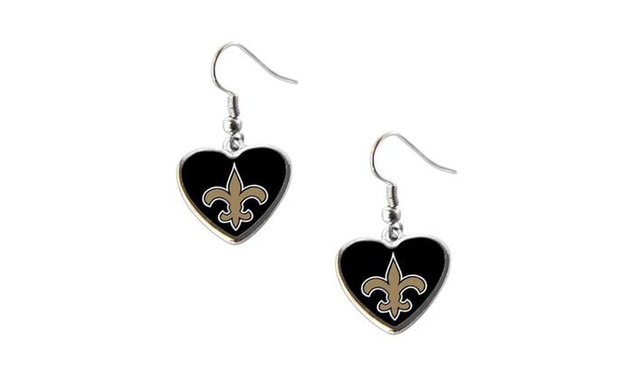 New Orleans Saints Non-Swirl Heart Shape Dangle Earring