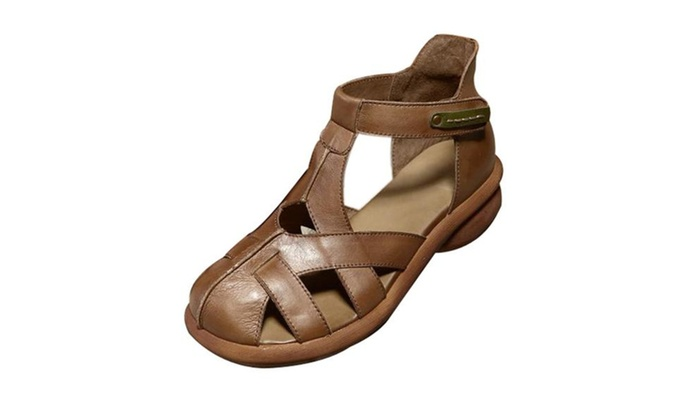 Women's Leather Strappy Hollow Out Ankle Sandals