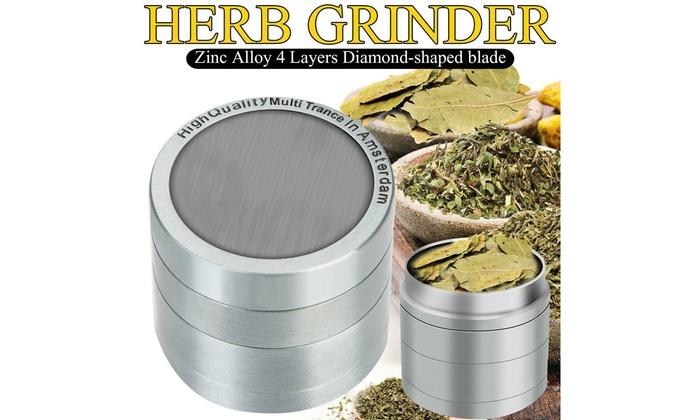 Tobacco Herb Grinder Spice Herbal Smoke Crusher 4 Piece Alloy Silver Premium