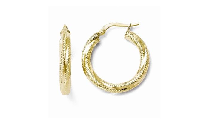 40b5f2a2ece37 Italian 10k Gold Textured Hinged Hoop Earrings