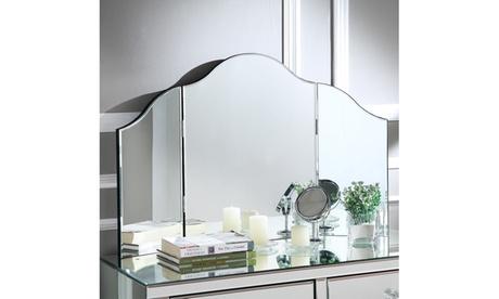 Hannah Frameless Tri-fold Tabletop Vanity Mirror, No Color