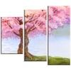 Flowering Pink Tree by Lake - Floral Canvas Art Print