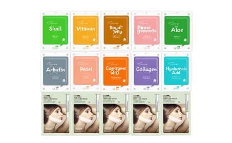 Korean Cosmetic MJ ON Full Facial Mask Sheet + V-line Chin Care Patch