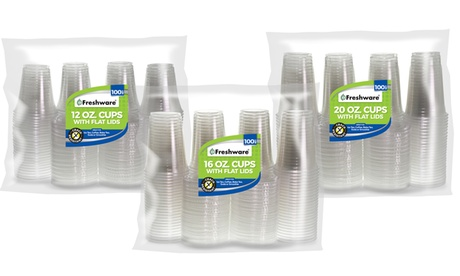 Freshware Clear Plastic Cups with Flat Lids (100 Sets) 4402b67d-d509-4f05-a28a-92906f340464