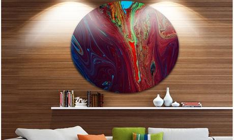 Dark Red Abstract Acrylic Paint Mix' Ultra Vibrant Abstract Metal Circle b945e167-eede-46de-b19a-fd3a8150d72b